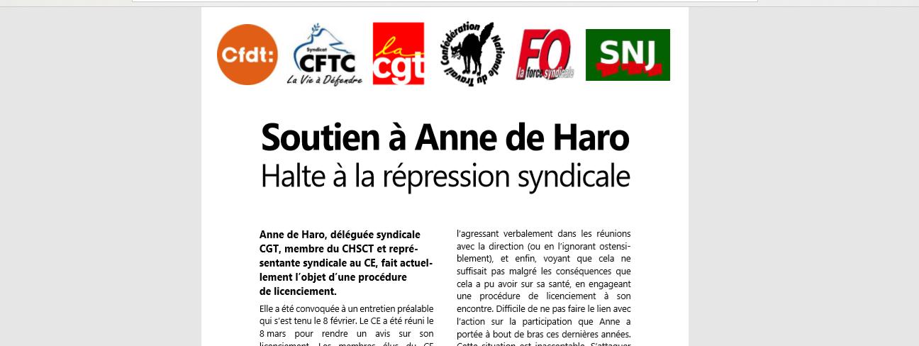 cad48cd73ae Soutien à Anne de Haro ! Halte à la répression syndicale à Wolters ...